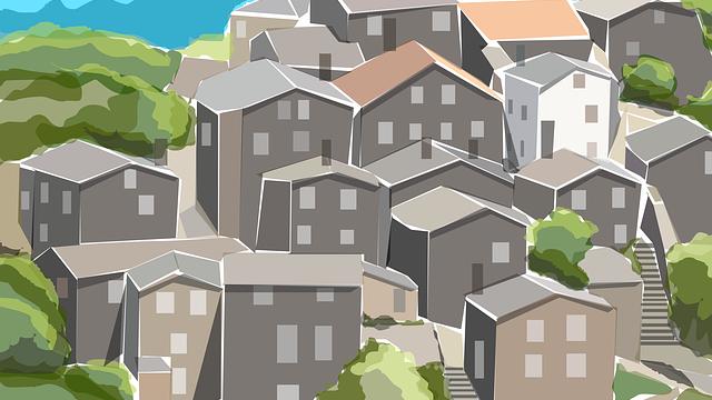 山沿いの住宅街