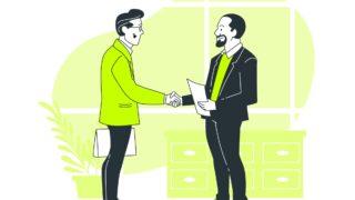 契約が成立した男性ビジネスマンたち