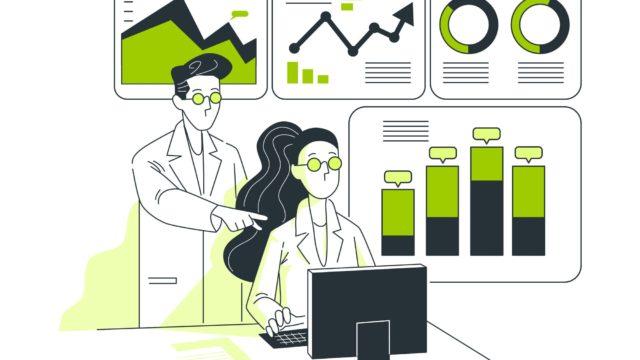 分析をしている男性と女性の研究員