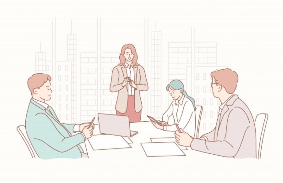 女性ビジネスマンのプレゼンテーション