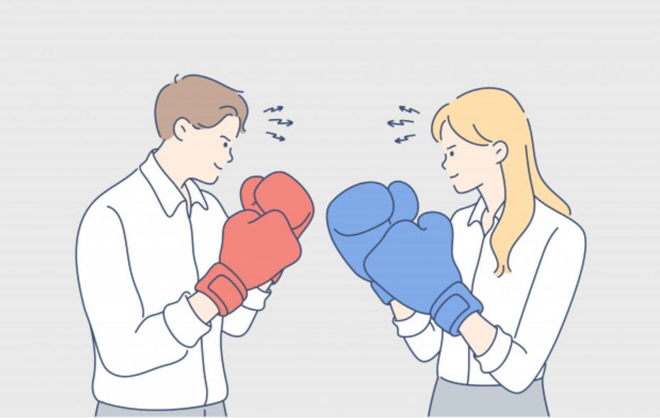 男性ビジネスマンと女性ビジネスマンの勝負