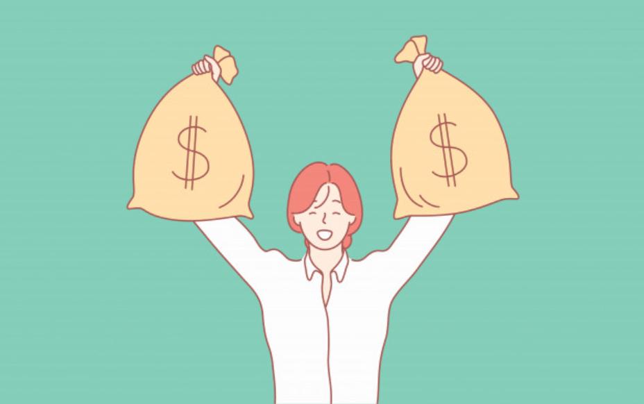 お金を手にした女性ビジネスマン