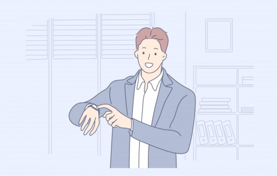 時計を指す男性ビジネスマン