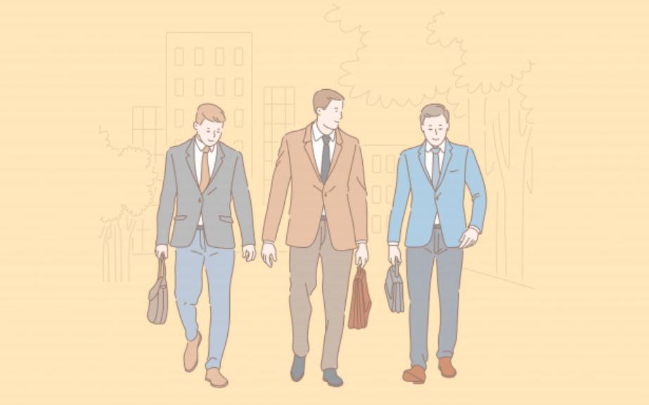 営業先に向かう男性ビジネスマンのチーム