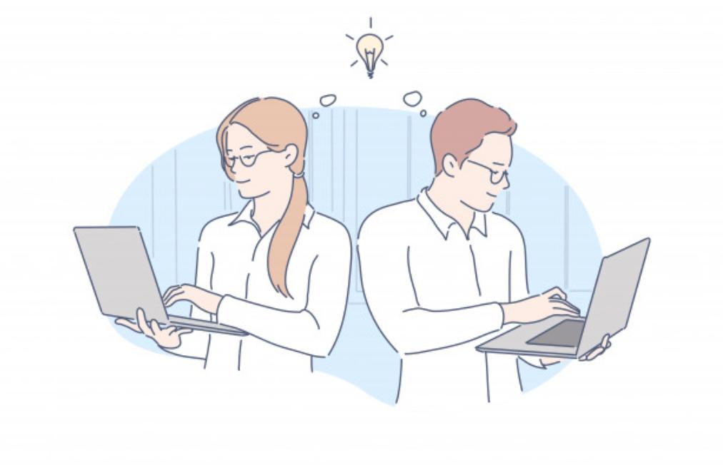 情報を集める男性ビジネスマンと女性ビジネスマン