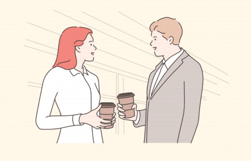 休憩をする男性ビジネスマンと女性ビジネスマン