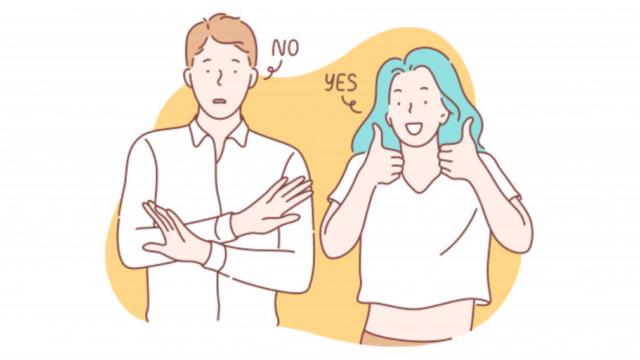 断る男性と許可する女性