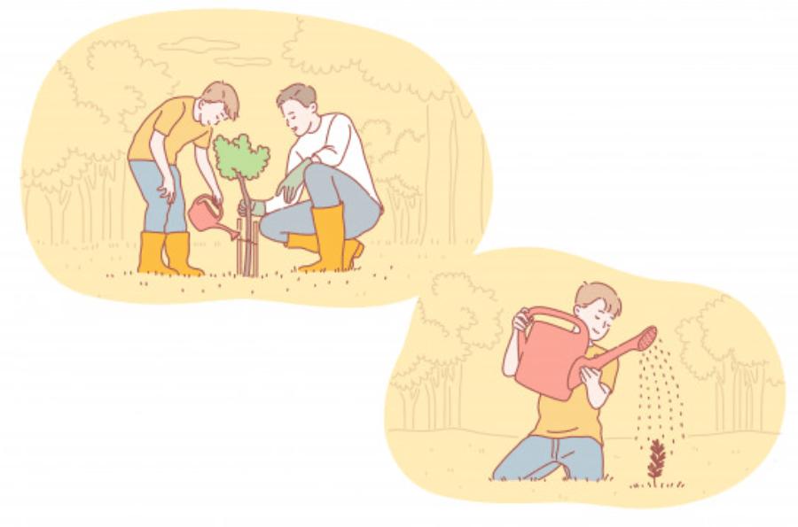 子供とと植物をはぐくむ男性ビジネスマン