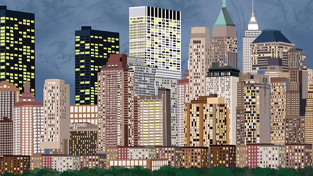 高層ビルがならぶ夜景