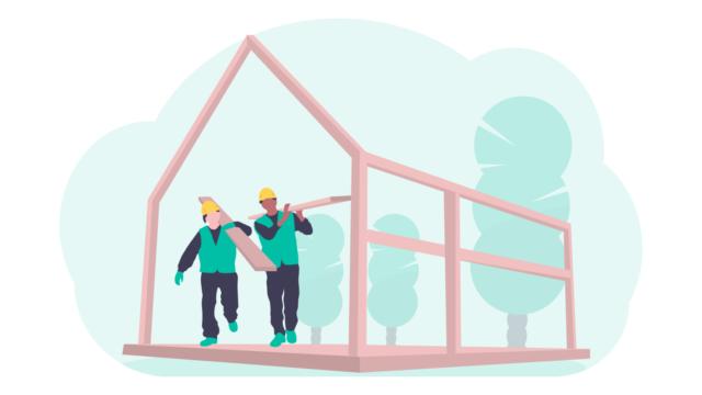 家を建てる現場の作業員