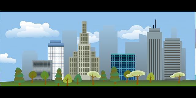 大きな街と建物
