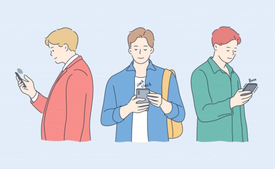 スマホで検索をする20代の男性