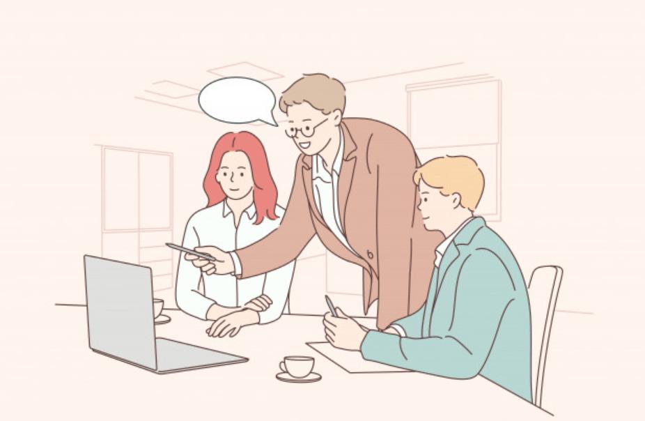 上司のアドバイスをもらう20代