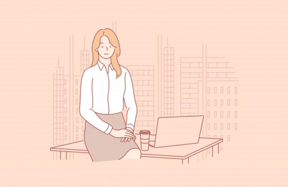 コーヒーを飲んでリフレッシュする女性ビジネスマン
